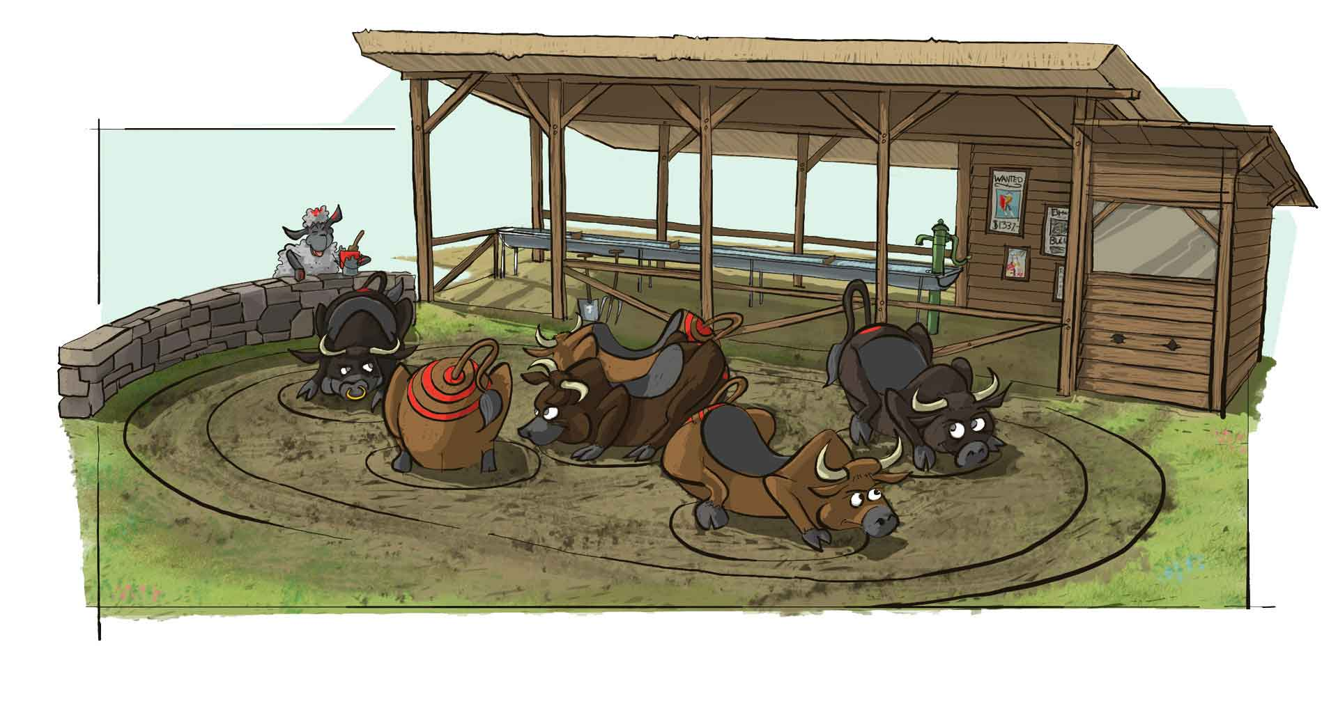 The artist impression of the bull attraction at Djurs Sommerland