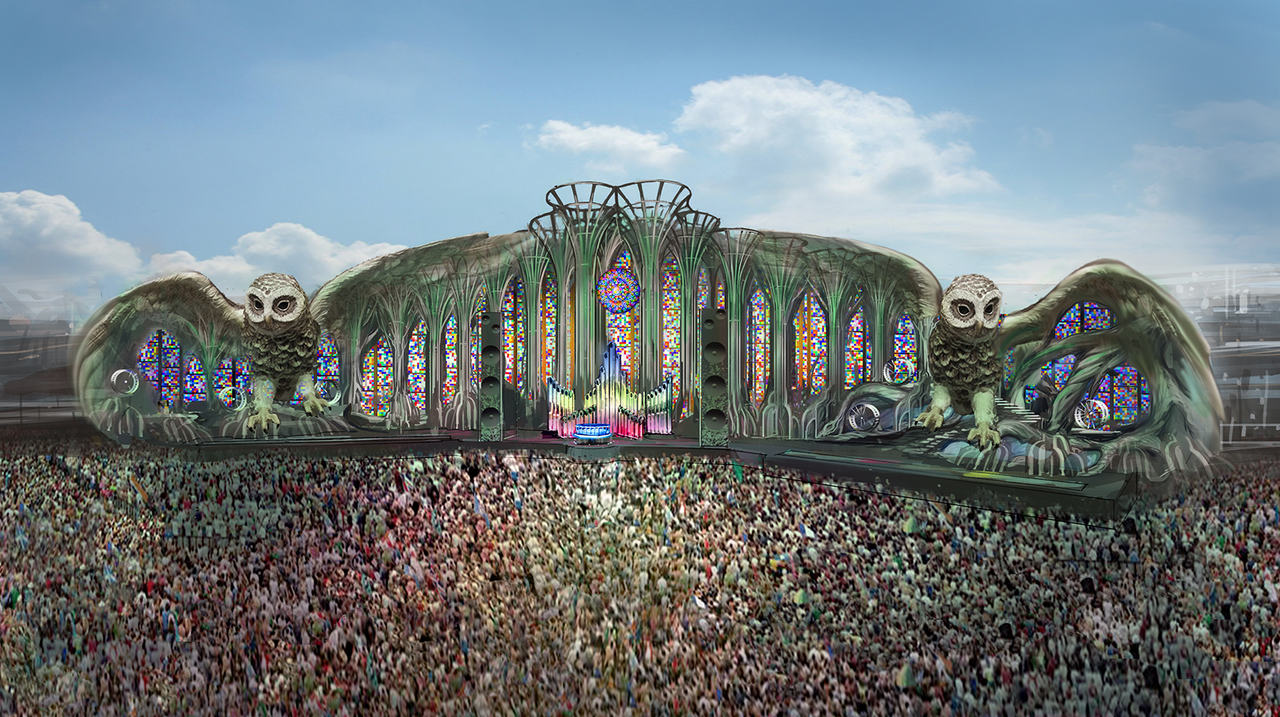 The artist impression of the Kinetic Field stage at EDC 2014