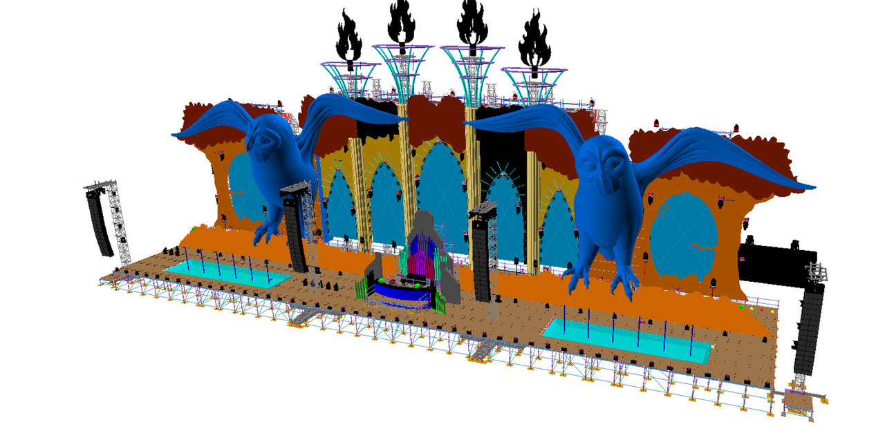 The 3D design of the Kinetic Field stage at EDC 2014