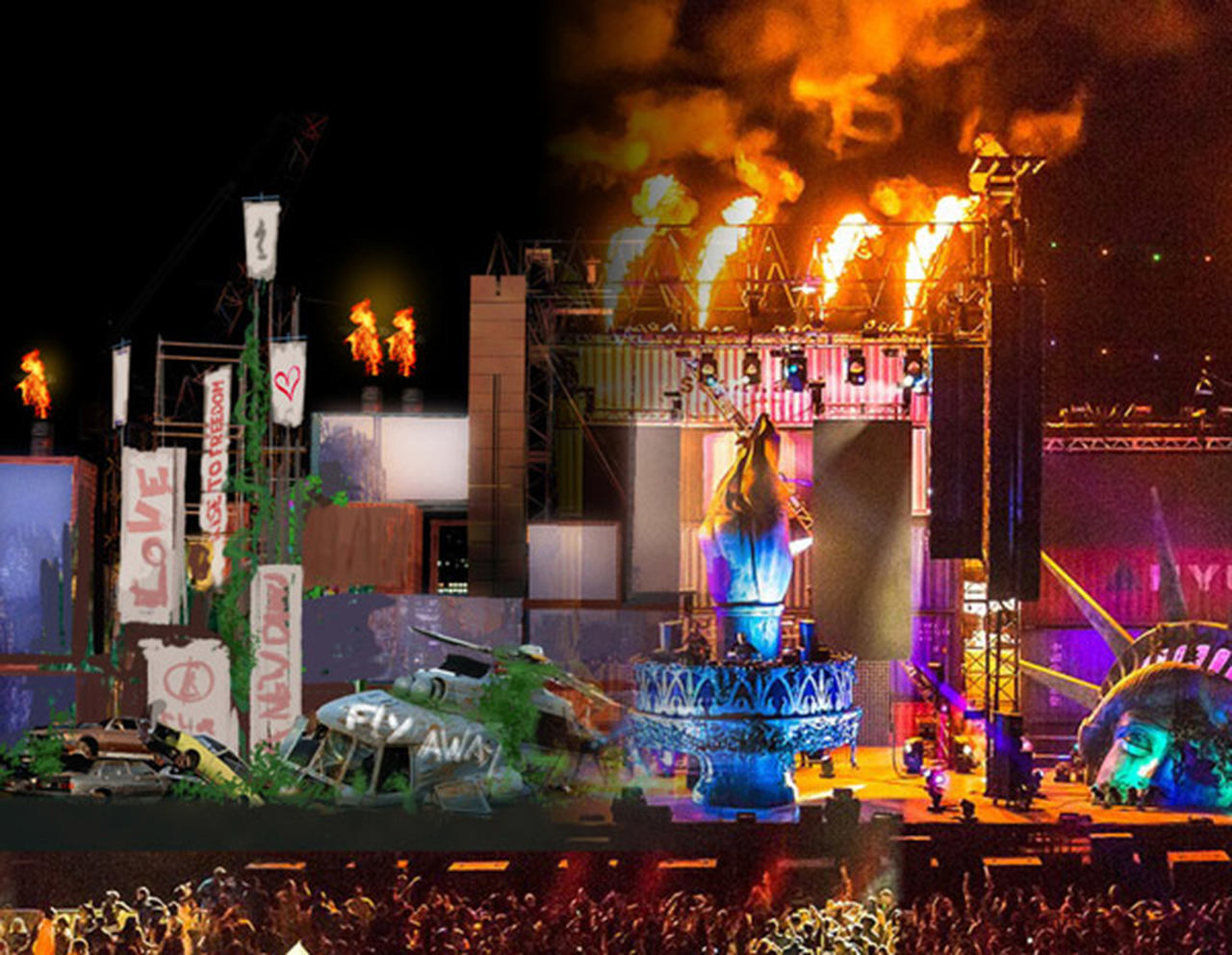 The stage design of the Wasteland stage at EDC 2015