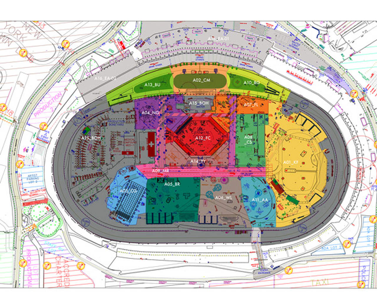 The masterplanning floor plan of the EDC 2015 festival