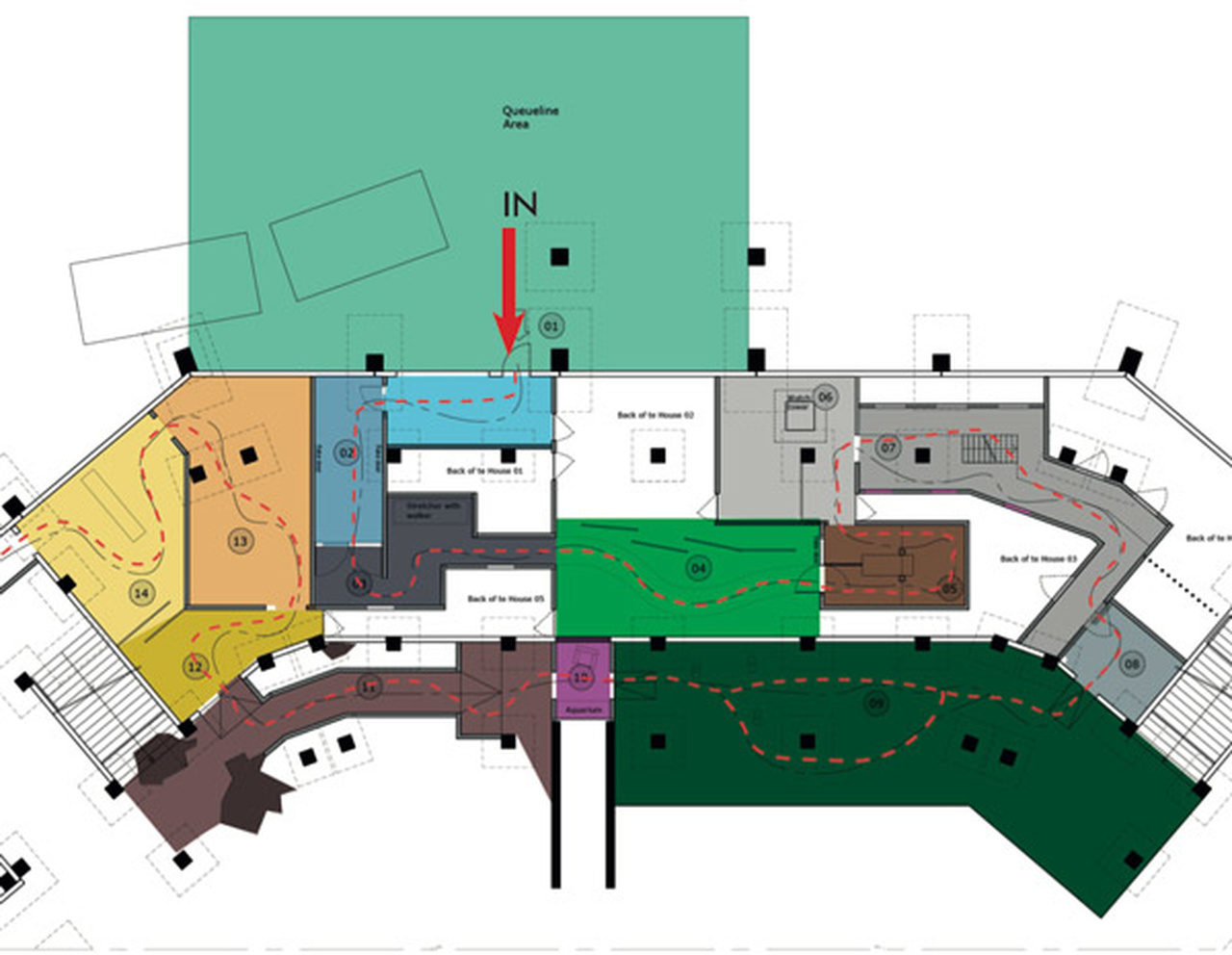 The floorplan of the Walking Dead Breakout haunted house at Movie Park Germany
