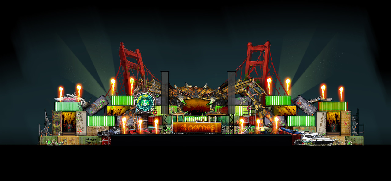 The stage design of Wasteland stage at EDC 2016