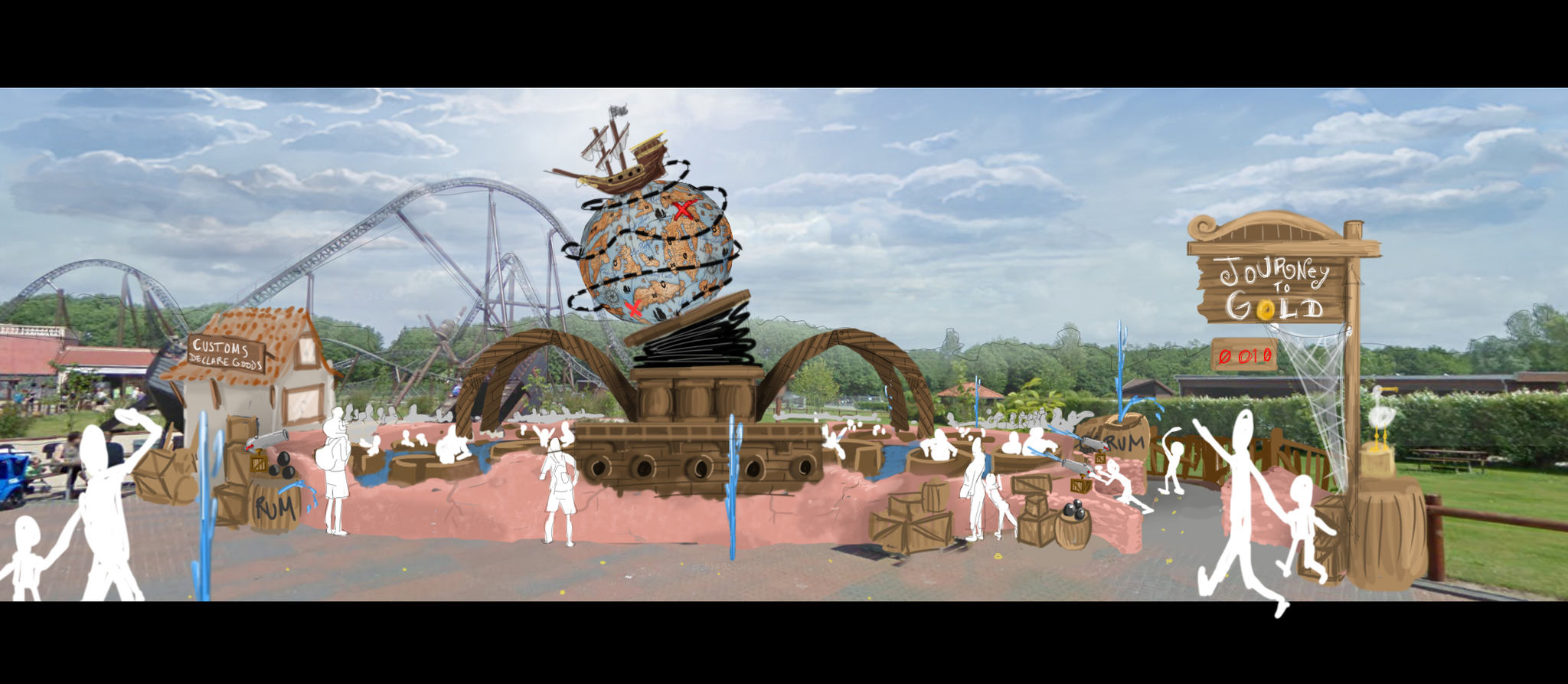 3D design of the Pirates area at Djurs Sommerland