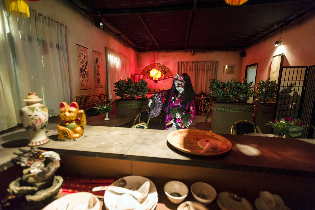 Inside of the restaurant at the Take Away Haunted House at Europa Park