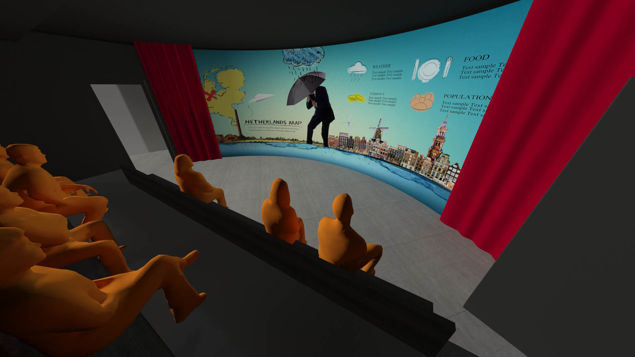 3D visualization of the pre-show at THIS IS HOLLAND