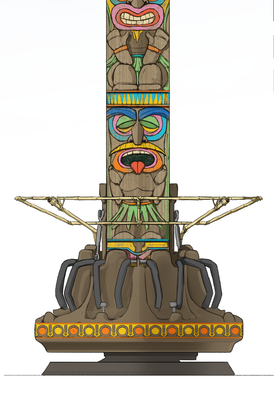 Artist impression of the drop tower at Jungle Mountain in Rabkoland