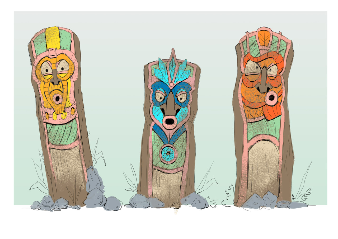 Artist impression of totems at Jungle Mountain in Rabkoland