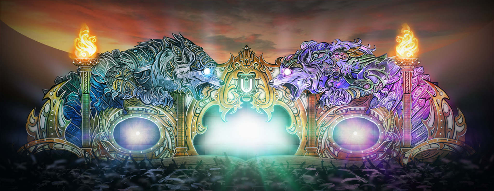 Artist impression of the Wolf Spirit stage at the Untold festivial