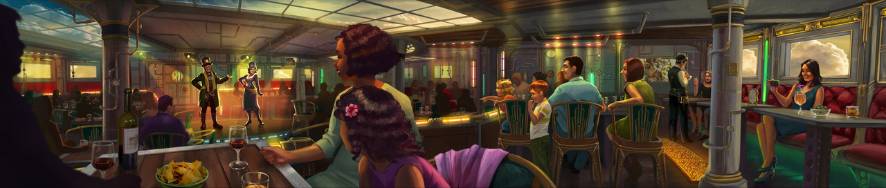 Artist impression of the Time Machine Restaurant at AIDA