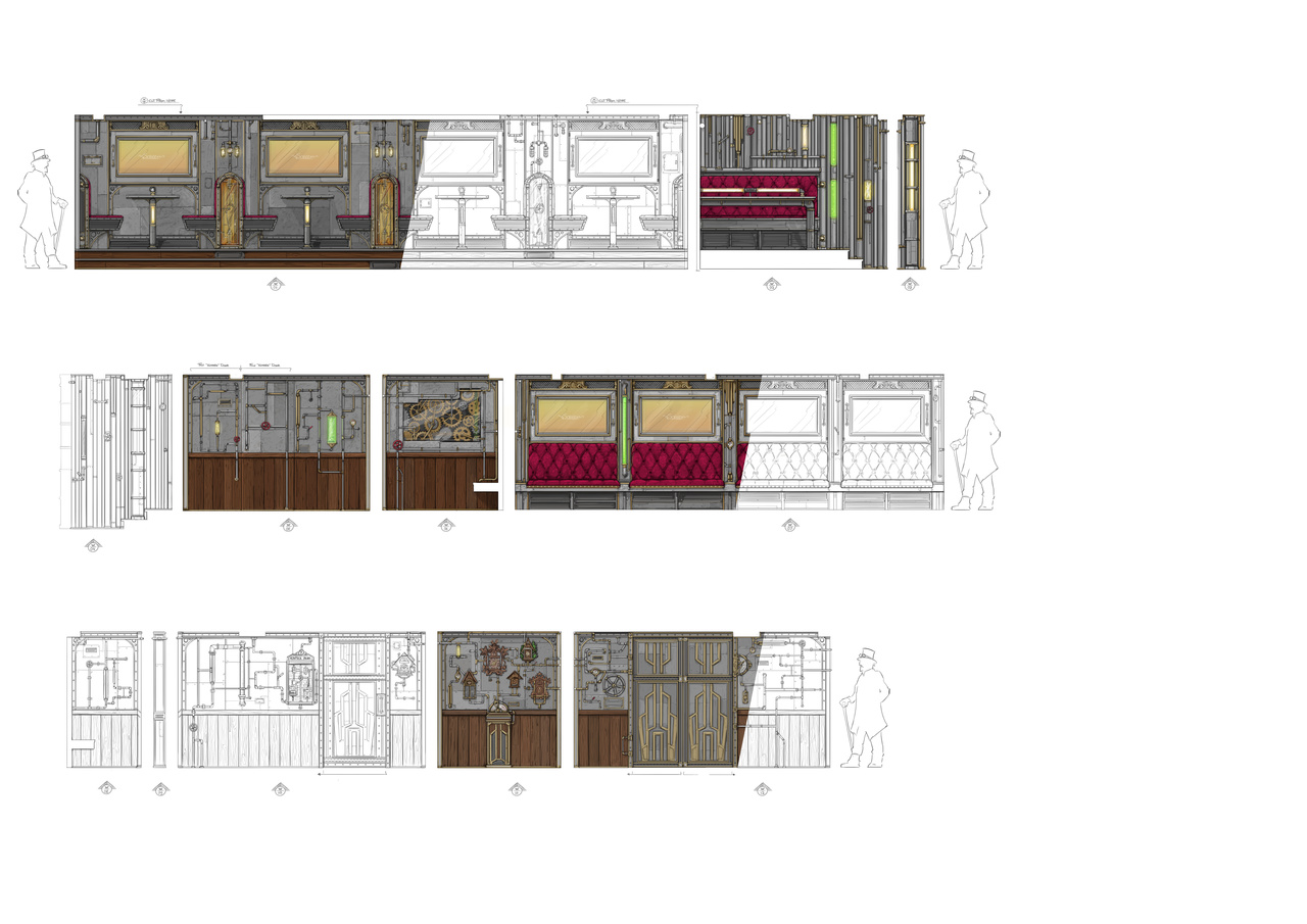 Schematic design of the different walls at the Time Machine Restaurant at AIDA