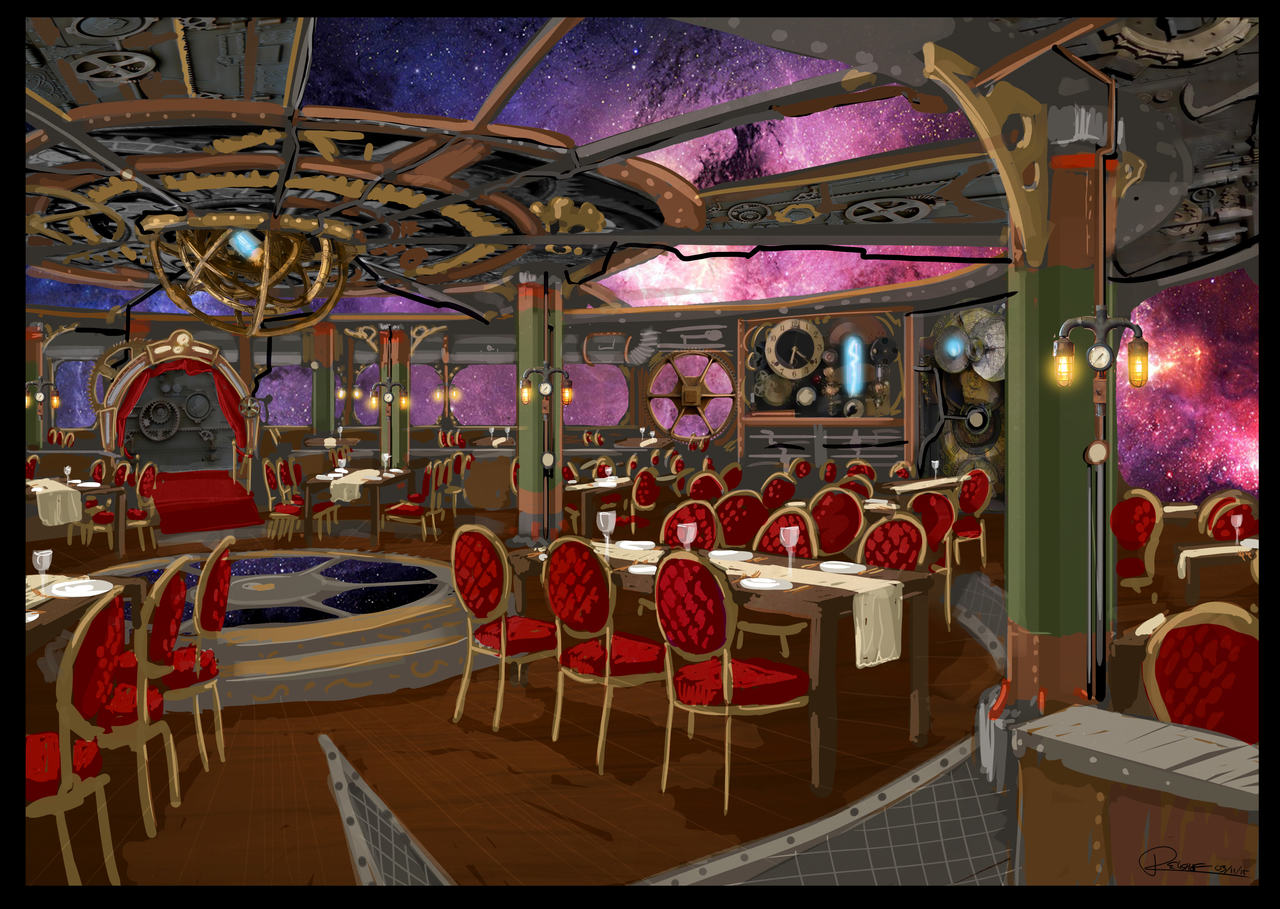 Artist impression of one of the world travelled through at the Time Machine Restaurant at AIDA