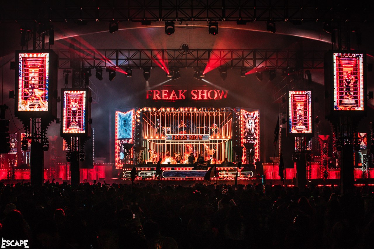 The freak show stage at Insomniacs' Escape 2019