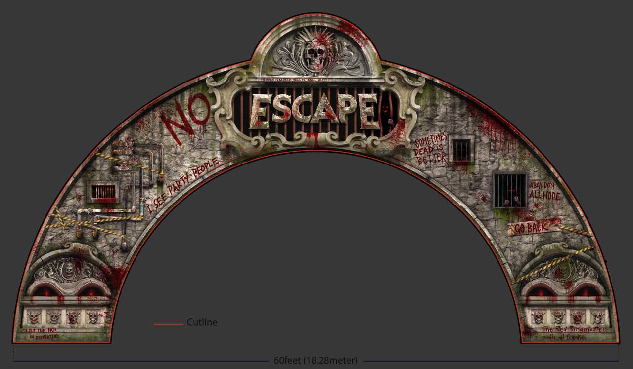 Printable design for the entrance portal of Escape 2019