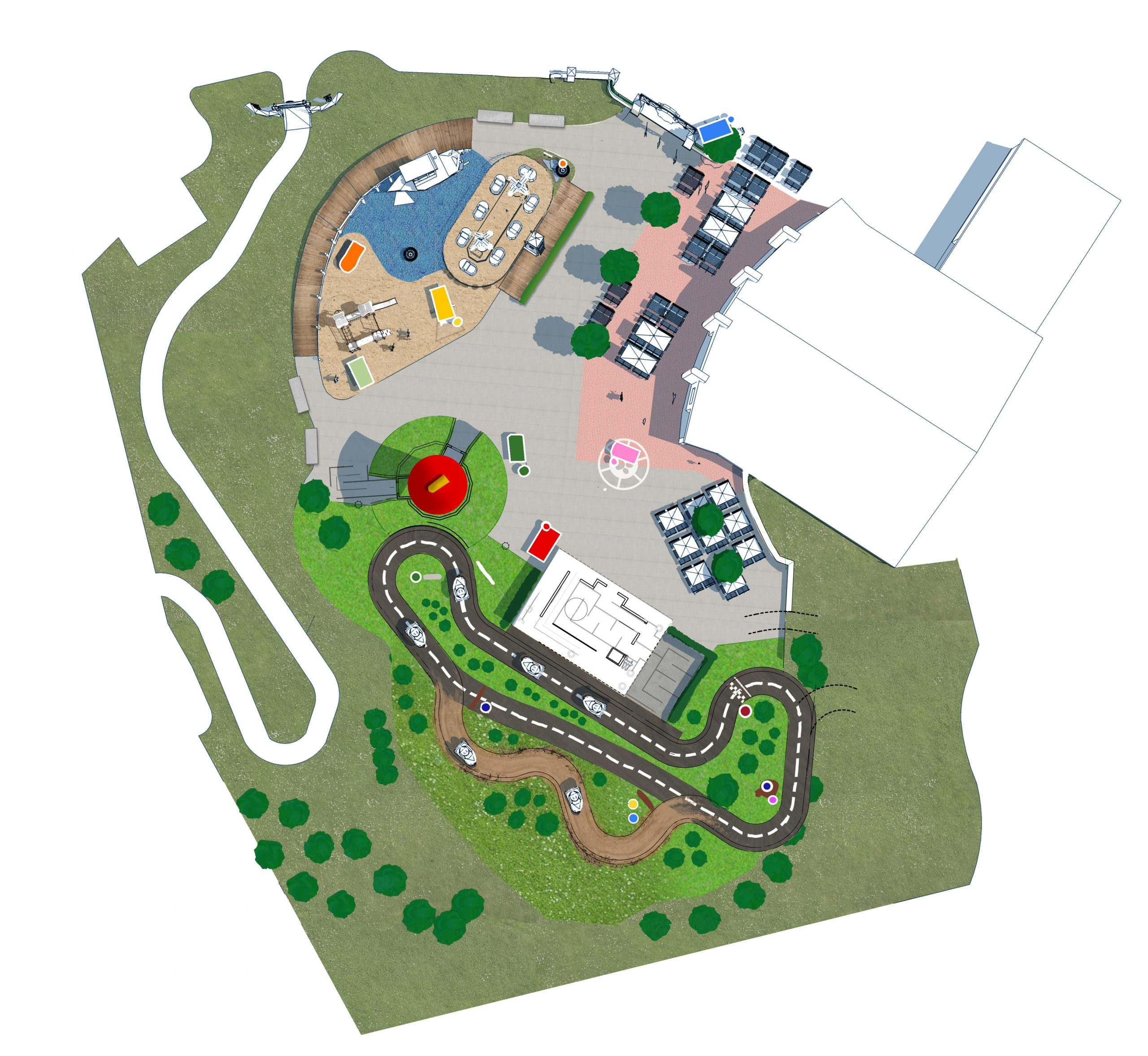 The lay-out of the Paw Patrol area at Movie Park Germany