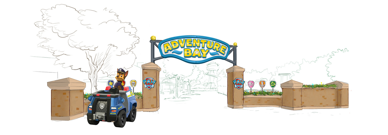 Art impression of the entrance portal at Paw Patrol area at Movie Park Germany