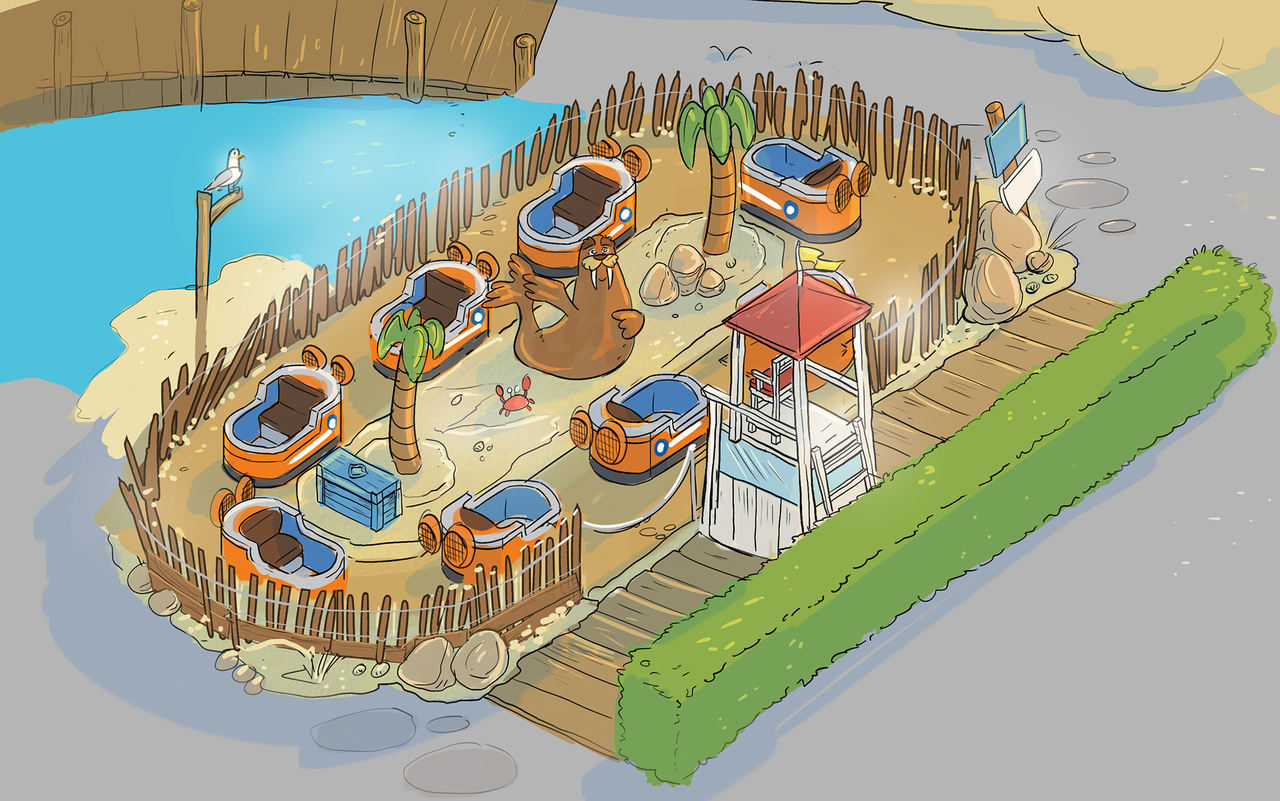 The design of the boat attraction at Paw Patrol area at Movie Park Germany