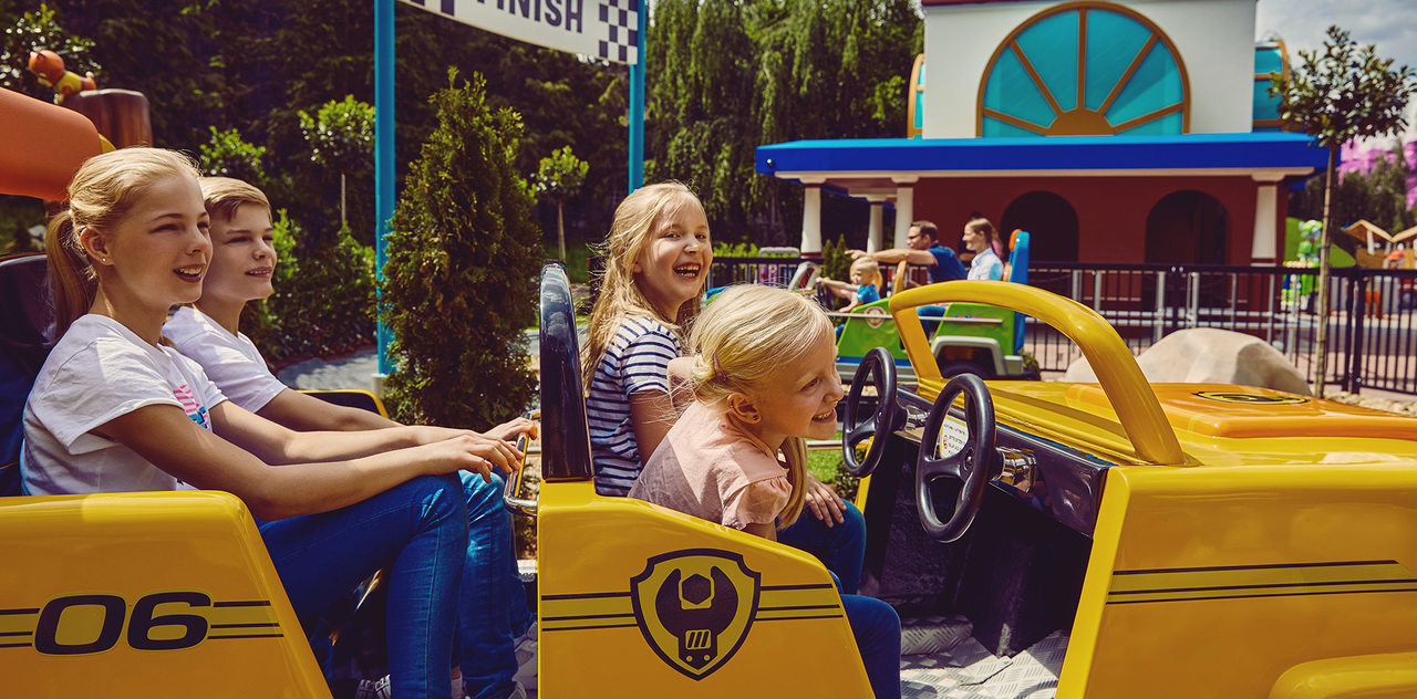 Girls enjoying the attractions at Paw Patrol area at Movie Park Germany