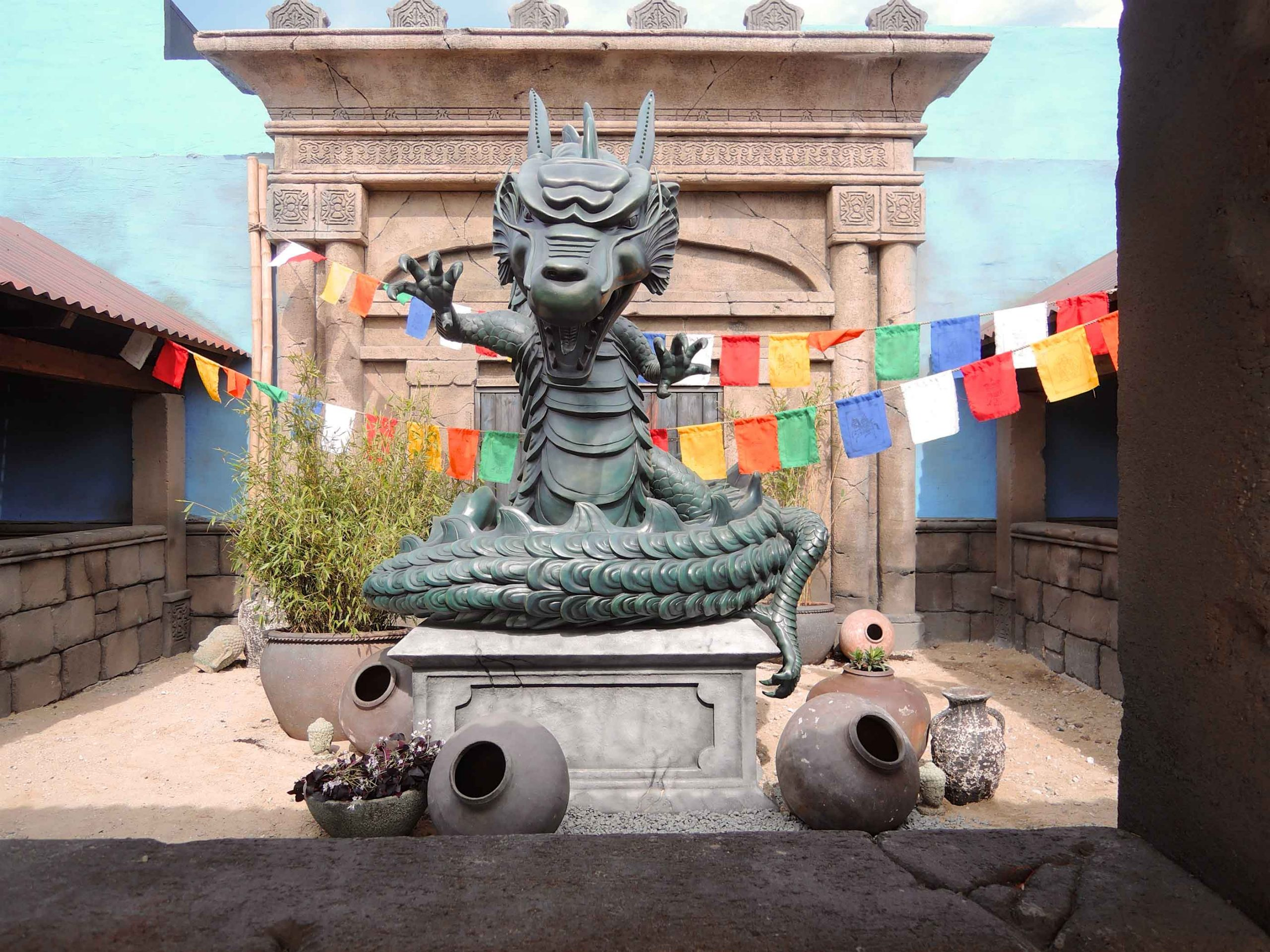 The dragon at the queue line of the Dragekongen at the Wild Asia Area at Djurs Sommerland