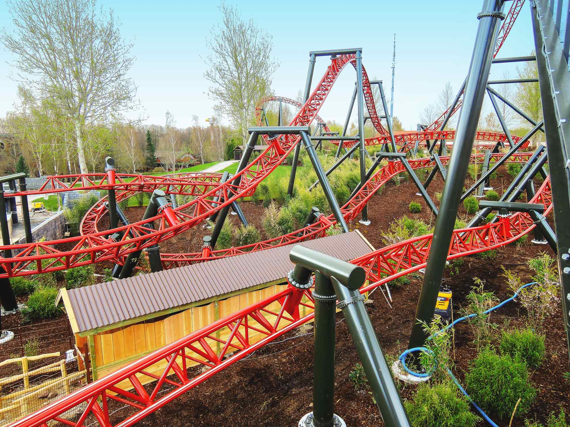 Photo of the Dragekongen coaster at the Wild Asia Area at Djurs Sommerland