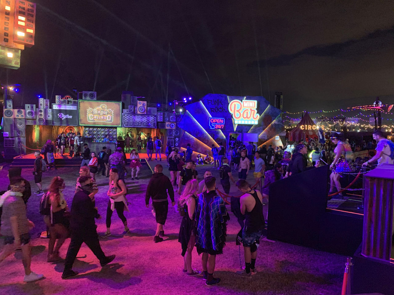 The main square at the entertainment area of EDC 2019