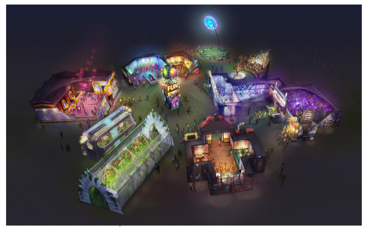 A birdseye overview of the entertainment area at EDC 2019