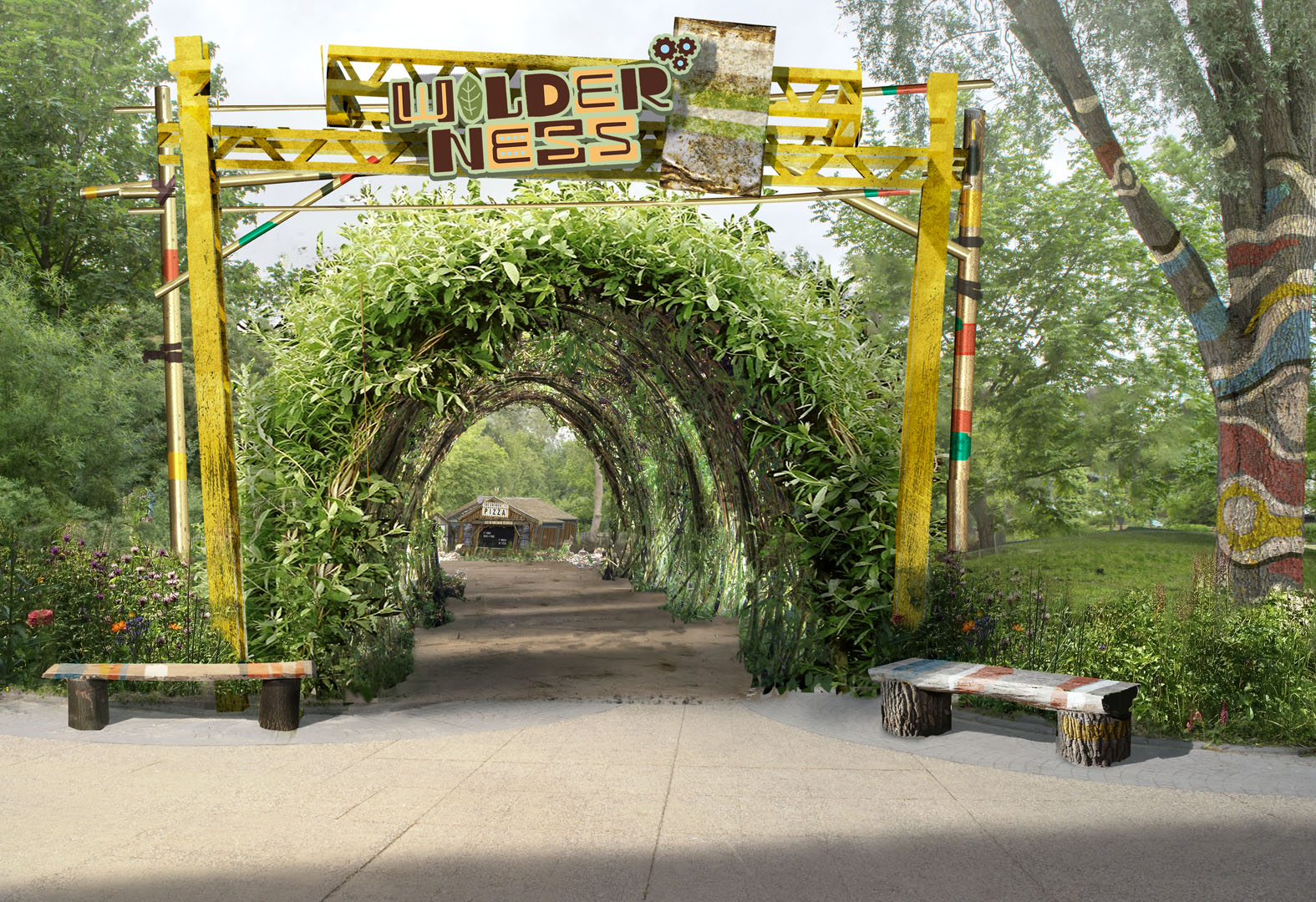 Entrance portal of the Wilderness area at Walibi Holland