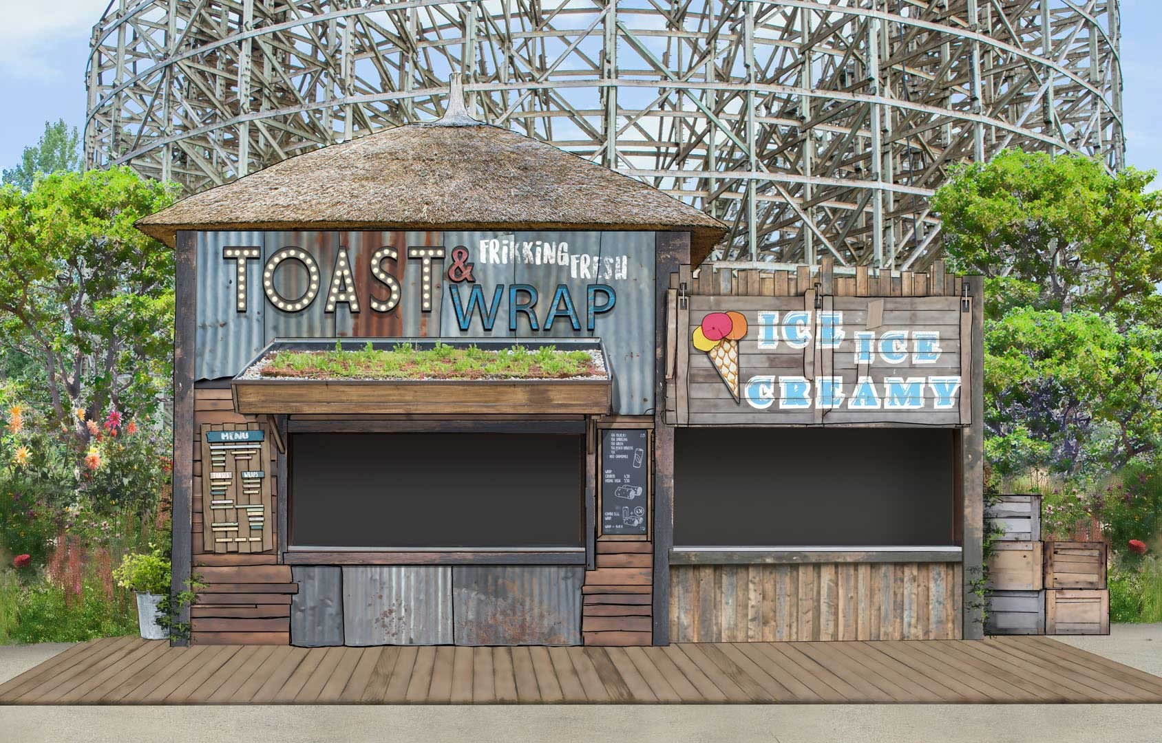 Design of food and beverage outlet at the Wilderness area of Walibi Holland