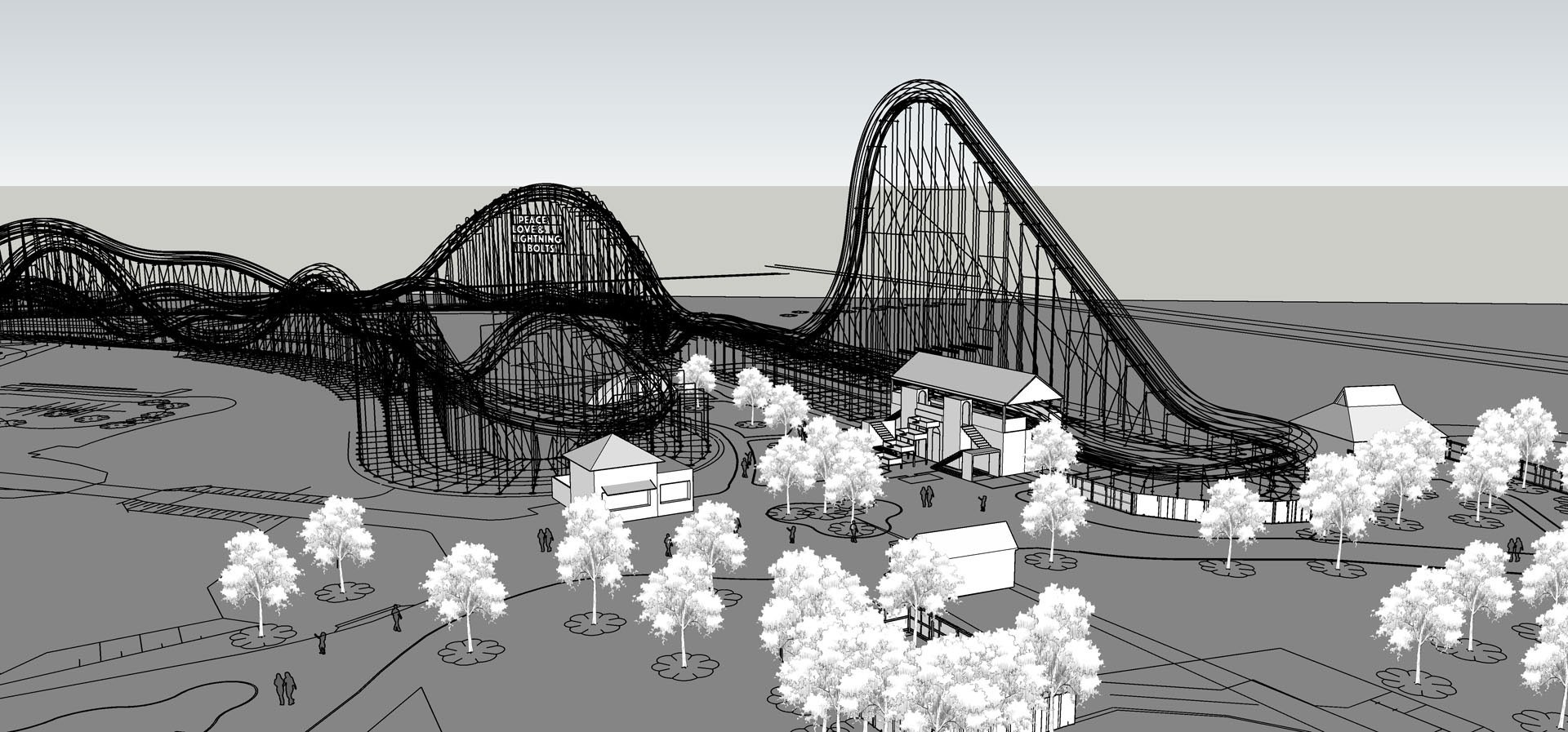 3D design of the Untamed coaster at Walibi Holland