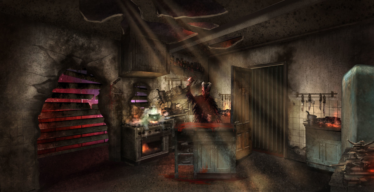 The design of the kitchen at the Chimelong Haunted House 2019